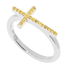 Yellow Diamond Cross Ring in Sterling Silver