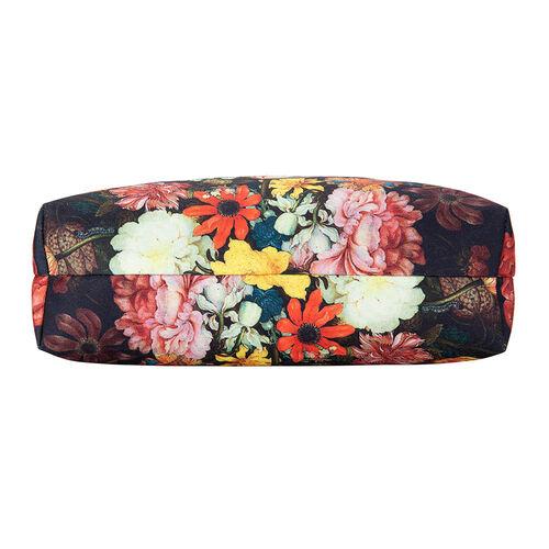 Signare Tapestry - Bosschaert Art A Still Life of Flowers Foldaway Bag (Size 30X9X36) - Black