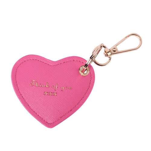 Pink Genuine Leather Heart Shaped Initial H Key Chain (7x6cm)