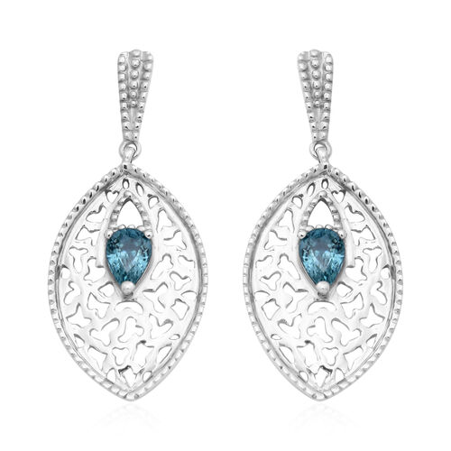 Ratanakiri Blue Zircon Earrings (with Push Back) in Rhodium Overlay Sterling Silver 2.24 Ct, Silver