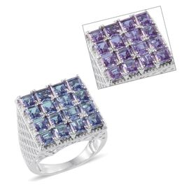 Lavender Alexite (Sqr) Ring in Platinum Overlay Sterling Silver 5.000 Ct.