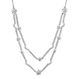 GP Diamond and Blue Sapphire Station Necklace in Platinum Plated Silver 18 with 2 inch Extender