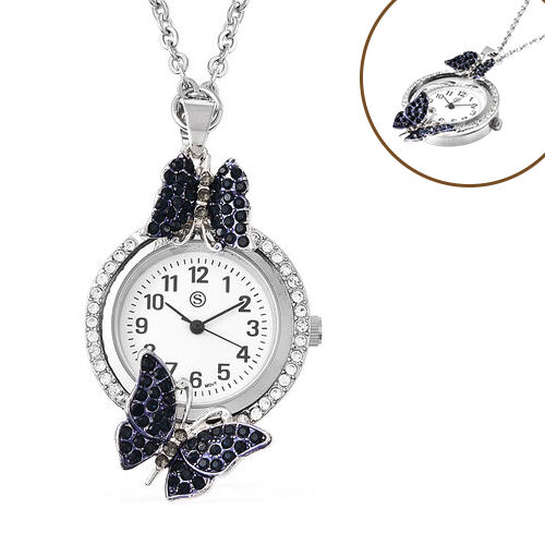 STRADA Japanese Movement White and Blue Austrian Crystal Studded Water Resistant Butterfly Pocket Wa