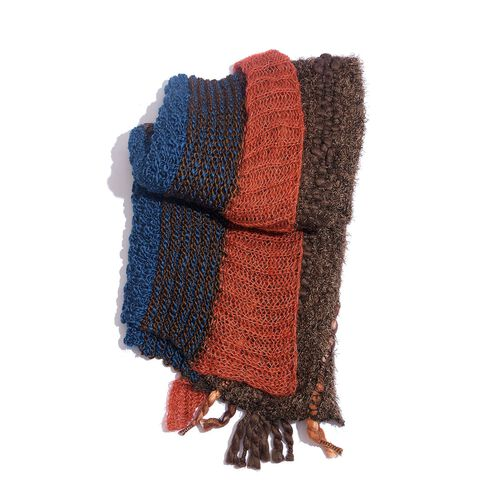 Chocolate, Blue and Red Colour Winter Scarf with Fringes (Size 175x60 Cm)