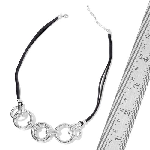 Designer Inspired- Black Colour Bohemian Flair  Necklace (Size 24) Silver Plated