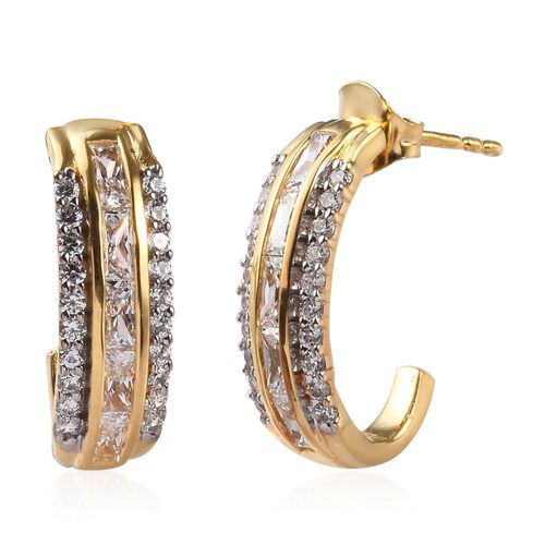 J Francis - 14k Yellow Gold Overlay Sterling Silver Earrings (with Push Back) Made with SWAROVSKI ZI