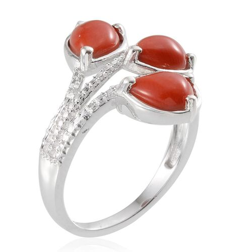 Natural Mediterranean Coral (Pear), Diamond Ring in Platinum Overlay Sterling Silver 3.760 Ct.