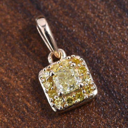 9K Yellow Gold Natural Yellow Diamond (Cush and Rnd) Pendant 0.33 Ct.