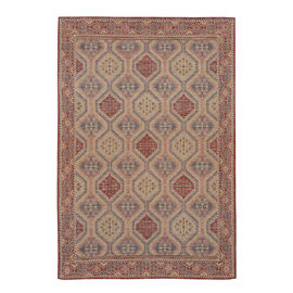 Premium Collection - Persian Style Jacquard Woven Cotton Area Rug with Geometric Pattern (Size 140x2