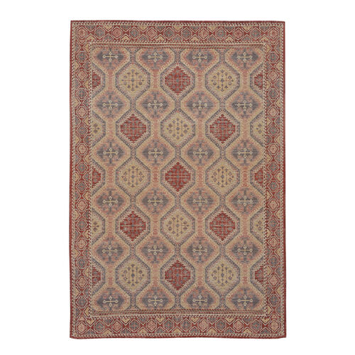 Premium Collection - Persian Style Jacquard Woven Cotton Area Rug with Geometric Pattern (Size 140x200 cm)