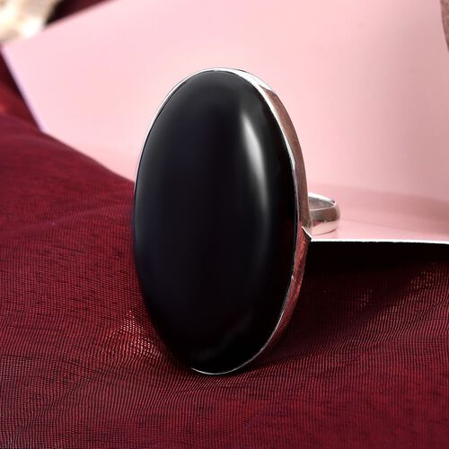Boi Ploi Black Spinel (Ovl) Solitaire Ring in Sterling Silver 80.21 Ct.