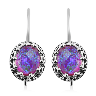Sajen Silver Cultural Flair Collection- Quartz Doublet  Simulated Opal Lavender Earrings in Rhodium