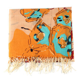 100% Merino Wool Abstract Pattern Scarf - Orange