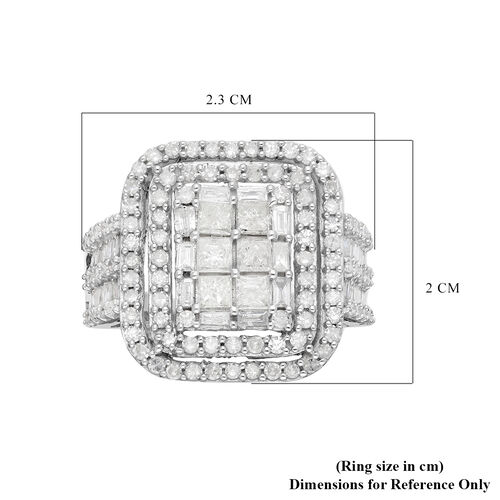 9K White Gold SGL Certified Diamond  (I3/G-H) Ring 2.00 Ct.