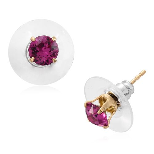 Set of 5 - J Francis Crystal from Swarovski - Multi Colour Crystal (Rnd) Stud Earrings (with Push Back) in 14K Gold Overlay Sterling Silver