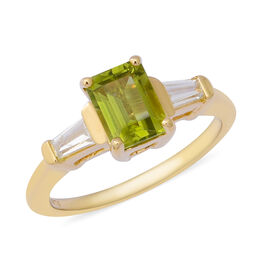 Chinese Peridot (1.59 Ct),Cambodian White Zircon Sterling Silver Ring  2.170  Ct.
