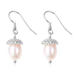 Freshwater Pearl (9-10 mm) Hook Earrings in Rhodium Plated 925 Sterling Silver