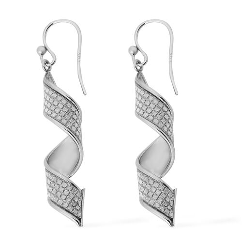 NY Close Out - Diamond Cut Designer Sterling Silver Hook Earrings