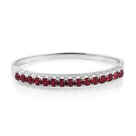 J Francis - Crystal from Swarovski Ruby Crystal (Rnd) Bangle (Size 7.5) in Stainless Steel