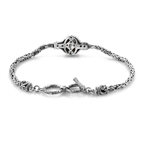 Royal Bali Collection South Sea Golden Pearl Tulangnaga Bracelet (Size 8) in Oxidised Sterling Silver, Silver wt 11.96 Gms.