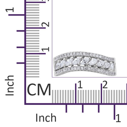ELANZA Simulated White Diamond (Mrq and Rnd) Ring in Rhodium Plated Sterling Silver