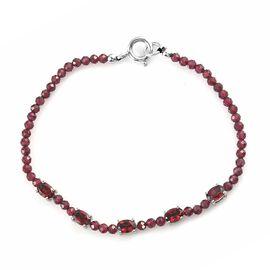 Red Garnet Cluster Bracelet (Size - 7.5) in Silver Tone 9.51 Ct.