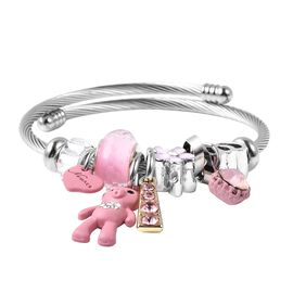 Simulated Diamond (Bgt), Pink and White Austrian Crystal and Pink Bead Charm Bracelet (Size 6-7) in