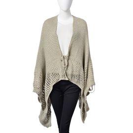 Light Grey Colour Crochet Pattern Knitted Kimono Size 130X58 Cm