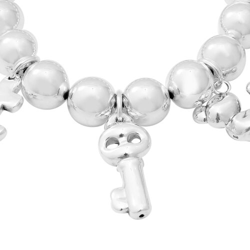 Sterling Silver Stretchable Multi Charm Bead Bracelet (Size 7.25), Silver wt 31.42 Gms