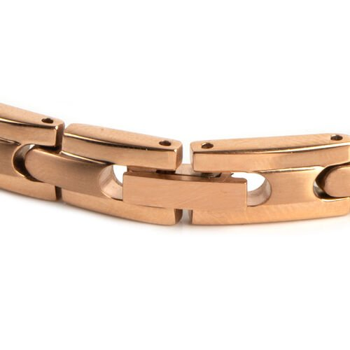 Rose Gold Plated Stainless Steel Link Bracelet (Size 8)