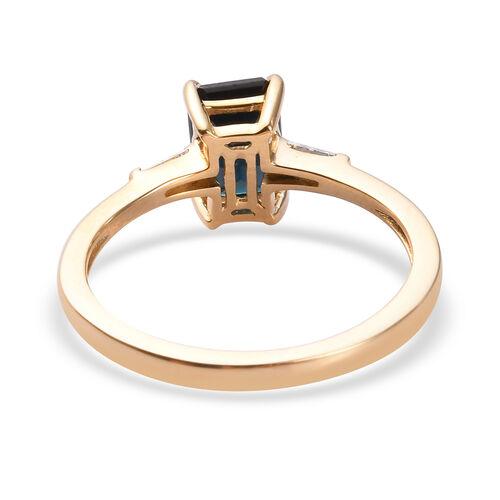 14K Yellow Gold Monte Belo Indicolite and Diamond Ring 1.10 Ct.