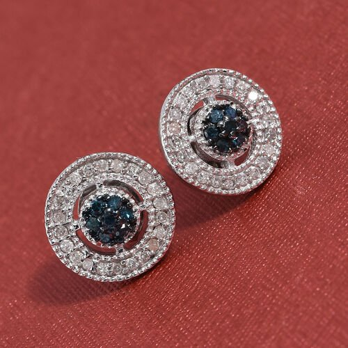 Blue Diamond (Rnd), White Diamond Stud Earrings (with Push Back) in Platinum Overlay Sterling Silver 0.330 Ct.