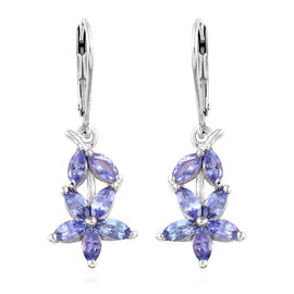 Tanzanite (Mrq) Floral Lever Back Earrings in Platinum Overlay Sterling Silver 2.00 Ct.