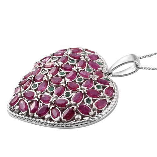 African Ruby (Mrq), Kagem Zambian Emerald Heart Pendant with Chain in Platinum Overlay Sterling Silver 10.000 Ct. Silver wt 10.87 Gms.