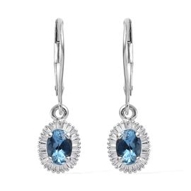 ILIANA 18K White Gold AAA Santa Maria Aquamarine (Ovl 6x4mm), Diamond (SI/G-H) Lever Back Earrings 1