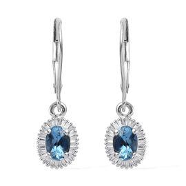 ILIANA 1.25 Ct AAA Santa Maria Aquamarine and Diamond Earrings in 18K White Gold SI GH