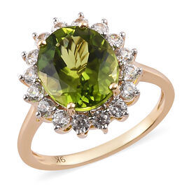 9K Yellow Gold AAA Hebei Peridot and Natural Cambodian Zircon Ring 6.25 Ct.
