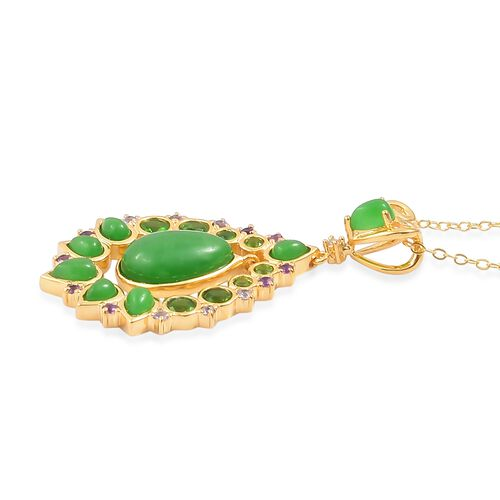Green Jade (Pear 3.75 Ct), Russian Diopside, Amethyst, Tanzanite and Natural White Cambodian Zircon Pendant With Chain in Yellow Gold Overlay Sterling Silver 6.480 Ct.