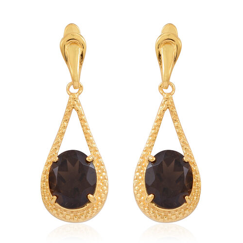Brazilian Smoky Quartz (Rnd) Teardrop Earrings (with Push Back) in 14K Gold Overlay Sterling Silver 6.500 Ct.