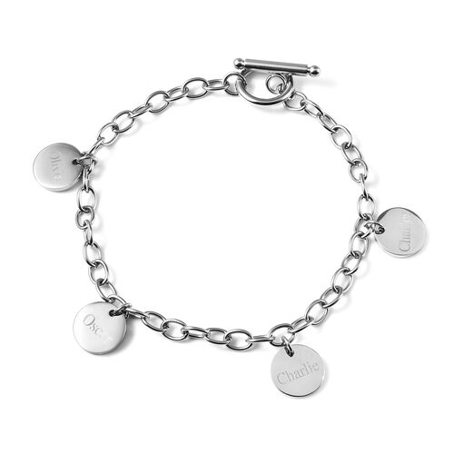 Personalise Engravable 4 Disc Charm Bracelet, in Stainless Steel 8.5inches