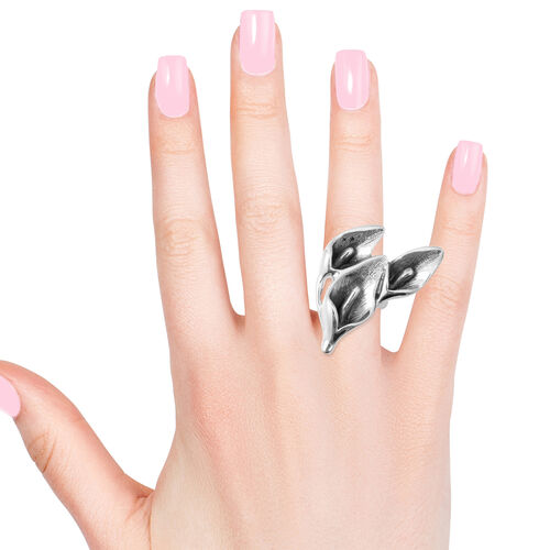 Rhodium Overlay Sterling Silver Calla Lily Ring, Silver wt 9.50 Gms.