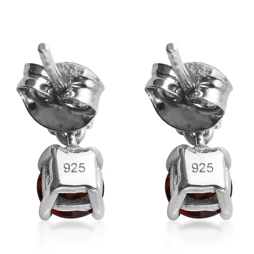 Mozambique Garnet (Rnd) Earrings in Platinum Overlay Sterling Silver 1.07 Ct.