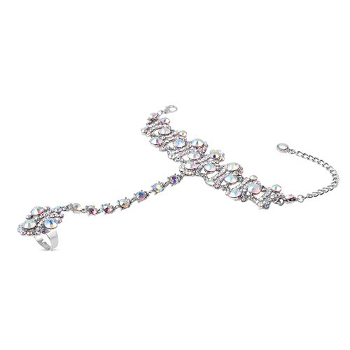 (Option 1) - Simulated Mystic White Crystal (Rnd) Bracelet/Ring (Size 6.50 with 3 inch Extender)