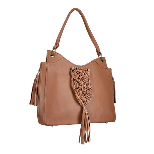 Hand Woven Macrame 100% Genuine Leather Large Tote Bag  (Size 34x31x09cm) - Tan