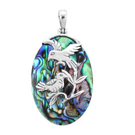 Royal Bali Collection - Abalone Shell Hummingbirds Pendant in Sterling Silver