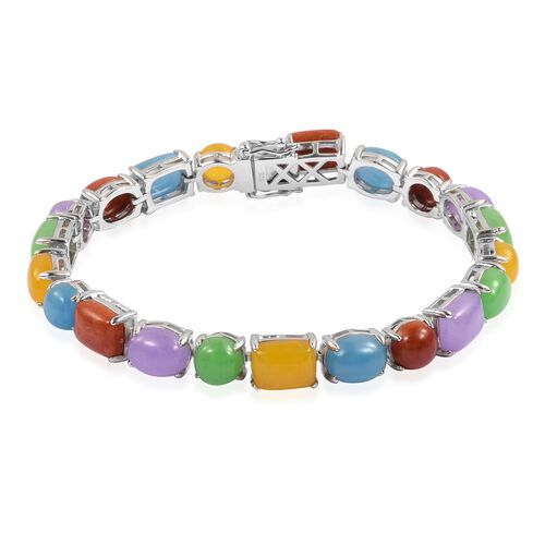 Cocktail Collection- Multi Colour Jade Bracelet (Size 7.5) in Rhodium Plated Sterling Silver 48.880