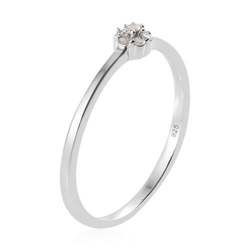 Diamond (Rnd) Flower Ring in Platinum Overlay Sterling Silver