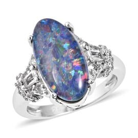 Boulder Opal, Cambodian Zircon and White Topaz Ring in Rhodium Plated Sterling Silver 4.90 Grams