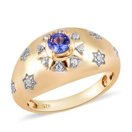 Tanzanite and Natural Cambodian Zircon Ring in 14K Gold Overlay Sterling Silver 0.50 Ct.