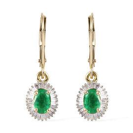9K Yellow Gold AA Boyaca Colombian Emerald (Ovl) and Diamond Lever Back Earrings 1.33 Ct.